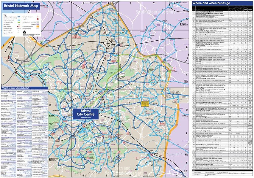 Bristol Design - Cartography - Bristol Network Bus Map